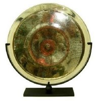 "20"" Round Multicolor Glass Disk With Stand"