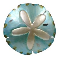 "15"" Aqua and Silver Metal Sand Dollar Plaque"