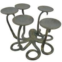 "10"" Gray and Gold Metal Octopus Pillar Holder"
