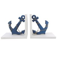 "13"" White and Blue Anchor Bookends"