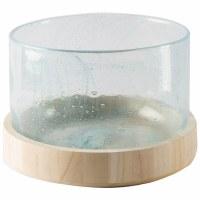 "6"" Low Aqua Bubble Hurricane Vase With Wood Base"