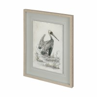 """31"""" x 25"""" Black and White Pelican Under Glass"""