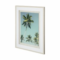 """41"""" x 31"""" Teal Palm and Blue Sky Under Glass"""