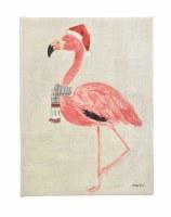 "16"" x 12"" Flamingo Santa Hat Canvas"