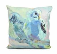 """18"""" Square Blue Parakeets Pillow"""