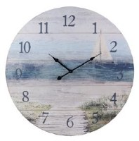 "23"" Round White Sailboat Beach Wall Clock"