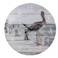 "23"" Round Gray Pelican on Pier Wall Clock"