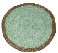"""31"""" Round Brown and Green Woven Floor Mat"""