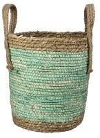 "10"" Green and Natural Woven Basket"