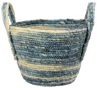 """10"""" Blue and Natural Woven Basket"""