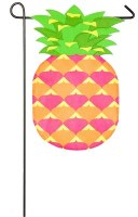 "18"" x 13"" Mini Pink, Green and Yellow Pineapple Shaped Garden Flag"
