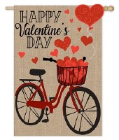"44"" x 28"" Burlap Valetine's Day Bike Flag"