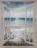"47"" x 36"" Open Window to Shore Canvas"