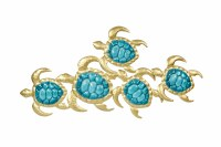 """32"""" Gold and Teal Turtles Wall Decor"""