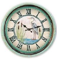 "12"" Round Distressed Aqua Finish Bezel Heron Clock"