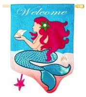 """44"""" x 28"""" Mermaid Welcome Flag"""