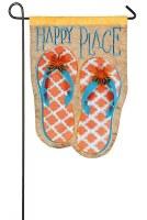 """18"""" x 13""""  Mini Happy Place Flip Flop Garden Flag"""