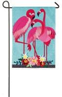 """18"""" x 13""""  Mini Flamingo Trio Garden Flag"""