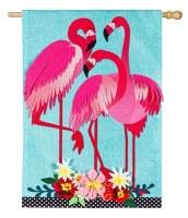 """44"""" x 28"""" Aqua and Pink Flamingo Trio Flag"""