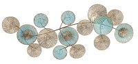 "38"" Aqua and Gold Metal Disks Plaque"