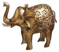 "16"" Distressed Brass Finish Elephant Lantern"