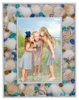 """4"""" x 6"""" Multicolor Seaglass and Shells Picture Frame"""