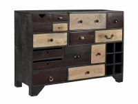 "45"" Black 14 Multicolored Drawer Credenza"