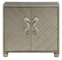 """32"""" Silver Two Door Cabinet With Seahorse Knobs"""
