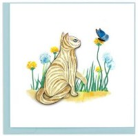 """6"""" x 6"""" Quilling White Cat and Butterfly Card"""