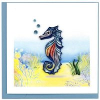 """6"""" x 6"""" Quilling Blue Seahorse Card"""