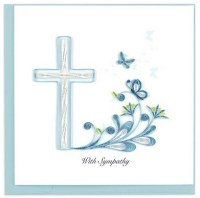 """6"""" x 6"""" Quilling Sympathy Cross Card"""