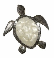 """18"""" White Capiz and Distressed Silver Finish Turtle Plaque"""