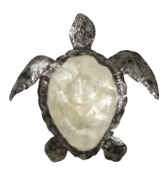"""14"""" White Capiz and Distressed Silver Finish Turtle Plaque"""