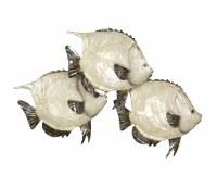 """15"""" White Capiz and Distressed Silver Finish Fish Trio"""