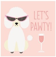 "5"" Square Pink Let's Pawty Poodle Paper Beverage Napkins"