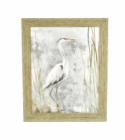 "30.5"" x 24.5"" White Heron Grey 1 Gel Framed"