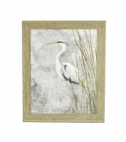 "30.5"" x 24.5"" White Heron Grey 2 Gel Framed"