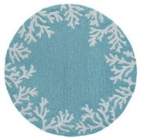 5 ft. Round Aqua Coral Border Rug