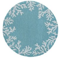 8 ft. Round Aqua Coral Border Rug