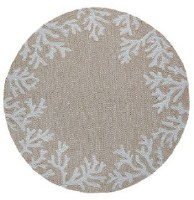 5 ft. Round Neutral Coral Border Rug
