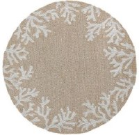 8 ft. Round Neutral Coral Border Rug