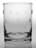 14 oz Etched Sailing Rocks Glass