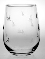 17 oz Etched Sailing Stemless Wine Glass