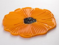 "8"" Orange Silicone Poppy Flower Trivet"