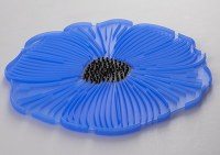 "8"" Blue Silicone Poppy Flower Trive"