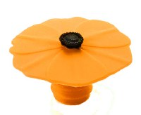 "2"" Orange Silicone Poppy Flower Bottle Stopper"
