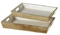 """12"""" x 18"""" Brown Wood and White Tray With Handles"""