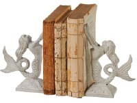 """8"""" Distressed White Finish Metal Mermaid Bookends"""