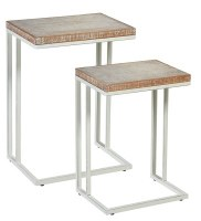 "Set of 2 18"" White Washed Wood and Metal Nesting Tables"