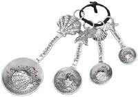 "6"" Set of 4 Silver Shell and Starfish Measuring Spoons"